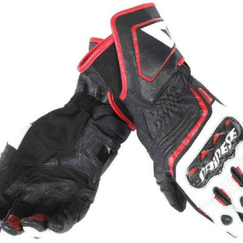 Dainese Carbon D1 Long Black White Red Riding Gloves