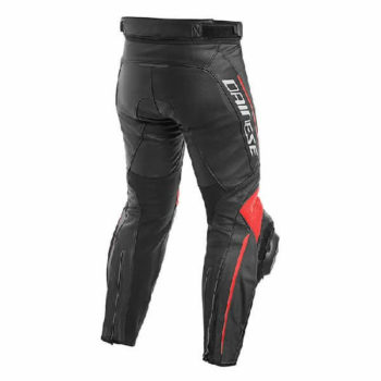 Dainese Delta 3 Leather Black Fluorescent Red Riding Pants 1