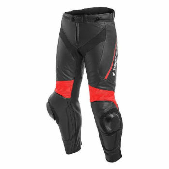 Dainese Delta 3 Leather Black Fluorescent Red Riding Pants