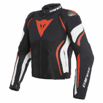Dainese Estrema Air Tex Black White Fluorescent Red Riding Jacket