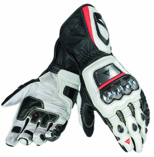 Dainese Full Metal D1 Black White Fluorescent Red Riding Gloves