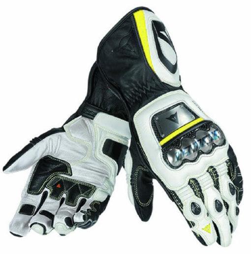 Dainese Full Metal D1 Black White Fluorescent Yellow Riding Gloves
