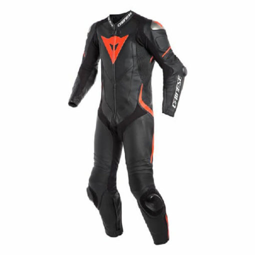 Dainese Laguna Sec 4 1 PC Leather Black Fluorescent Red Riding Suit