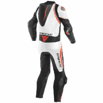 Dainese Laguna Sec 4 1 PC Leather Black White Fluorescent Red Riding Suit 1