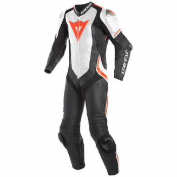 Dainese Laguna Sec 4 1 PC Leather Black White Fluorescent Red Riding Suit