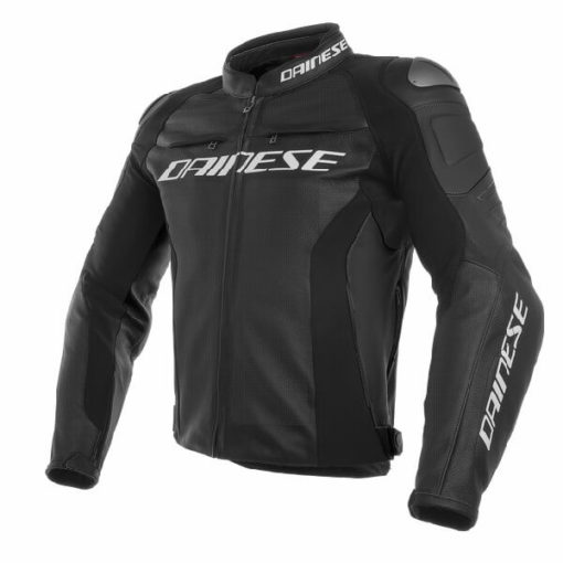 Dainese Racing 3 Perforated Black Leather Riding Jacket