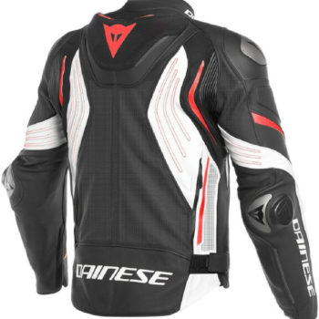 Dainese Super Speed 3 Perforated Leather Black White Fluorescent Red Riding Jacket 1