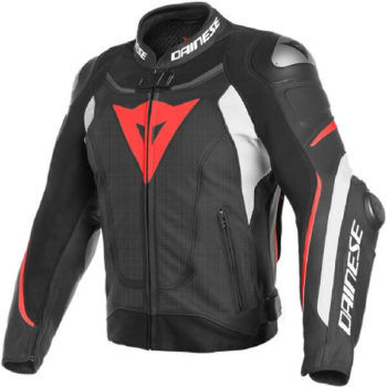 Dainese Super Speed 3 Perforated Leather Black White Fluorescent Red Riding Jacket