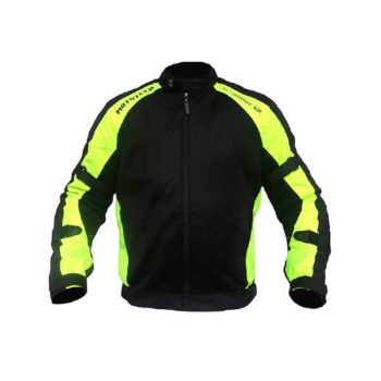 Mototech Scrambler Air Black Fluorescent Green Motorcycle Jacket