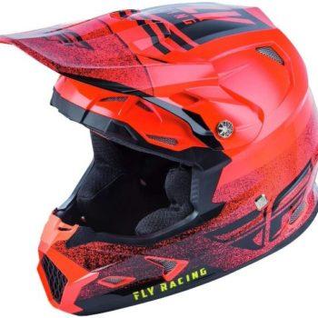 Fly Racing Toxin MIPS Embargo Gloss Fluorescent Red Black Motocross Helmet