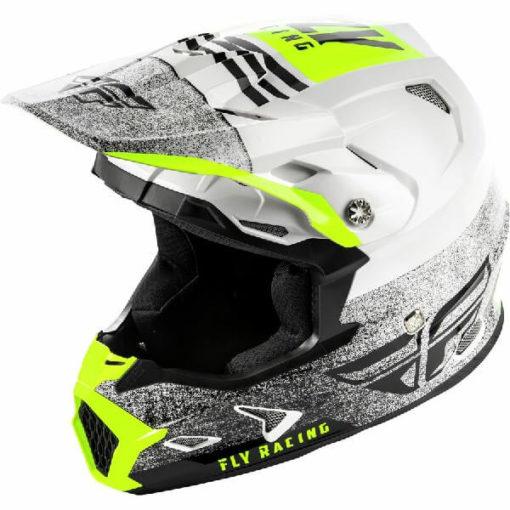 Fly Racing Toxin MIPS Embargo Gloss White Black Motocross Helmet