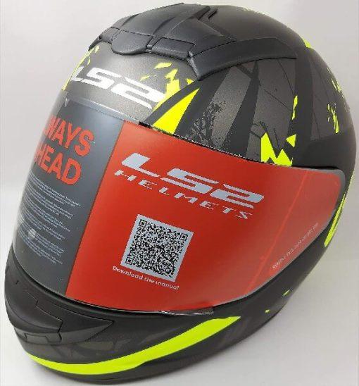 LS2 FF352 Palimnesis Matt Black Fluorescent Yellow Full Face Helmet 2