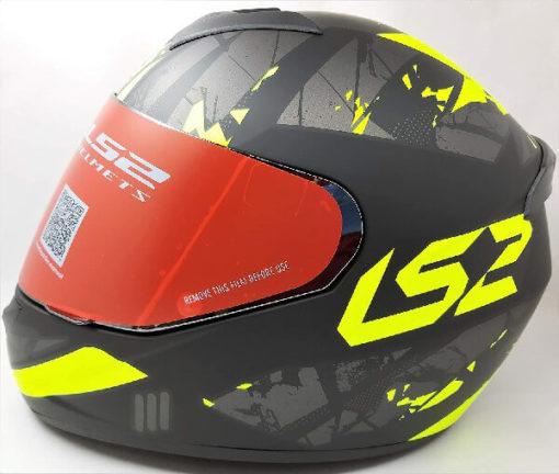 LS2 FF352 Palimnesis Matt Black Fluorescent Yellow Full Face Helmet