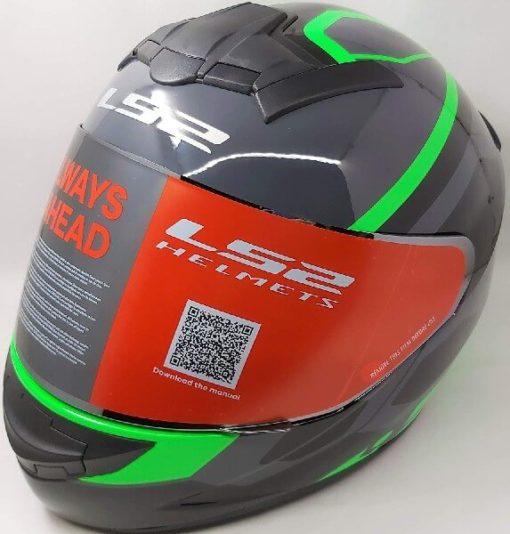 LS2 FF352 Rookie Mein Gloss Black Green Full Face Helmet 2