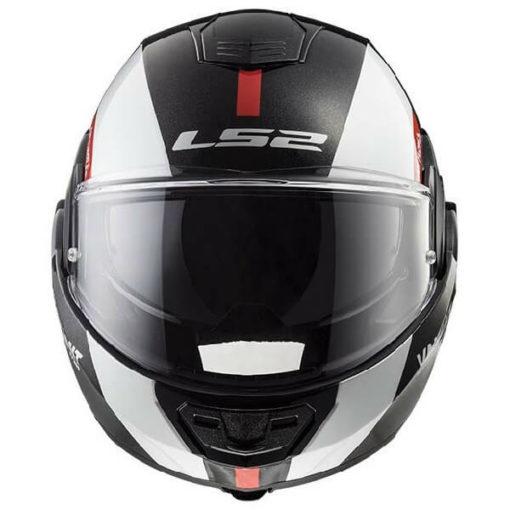 LS2 FF399 Avant Matt Black White Red Flip Up Helmet 2