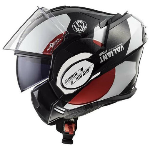 LS2 FF399 Avant Matt Black White Red Flip Up Helmet 3
