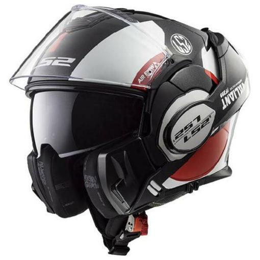 LS2 FF399 Avant Matt Black White Red Flip Up Helmet