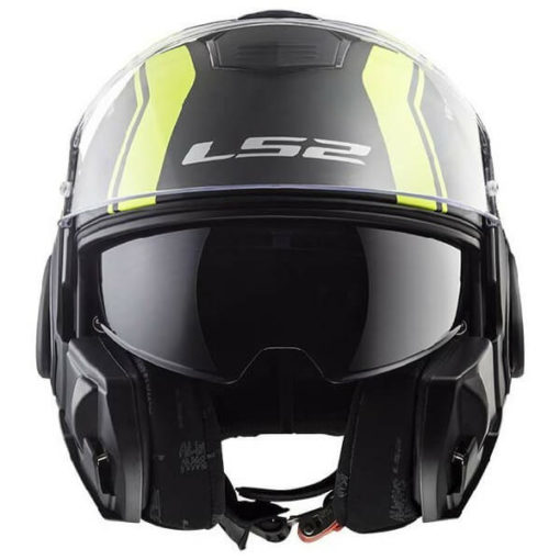 LS2 FF399 Valiant Line Matt Black Fluorescent Yellow Flip Up Helmet 2