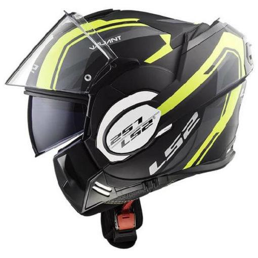 LS2 FF399 Valiant Line Matt Black Fluorescent Yellow Flip Up Helmet 3