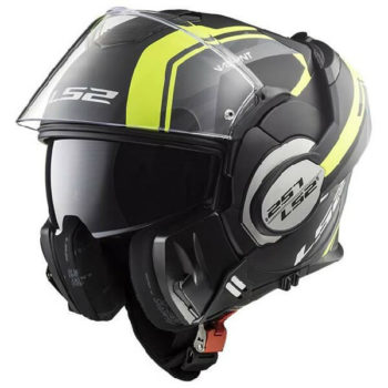LS2 FF399 Valiant Line Matt Black Fluorescent Yellow Flip Up Helmet