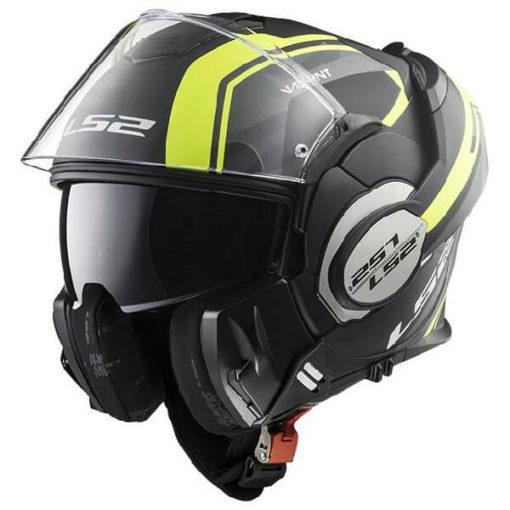 LS2 FF399 Valiant Line Matt Black Fluorescent Yellow Flip Up Helmet