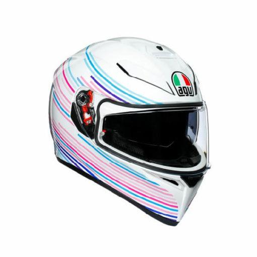 AGV K3 SV Multi Plk Sakura Matt Pearl White Purple Full Face Helmet