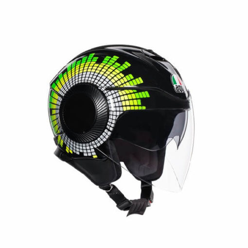 AGV Orbyt Multi Ginza Gloss Black Yellow Green Open Face Helmet