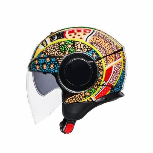 AGV Orbyt Top Dreamtime Blue Yellow White Open Face Helmet 3