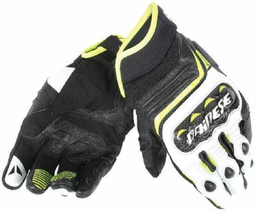 Dainese Carbon D1 Black White Fluorescent Yellow Short Gloves 1