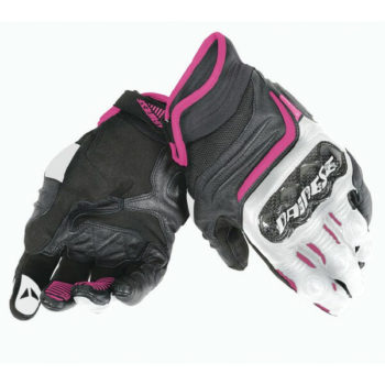 Dainese Carbon D1 Black White Fuchsia Red Short Women Gloves 1