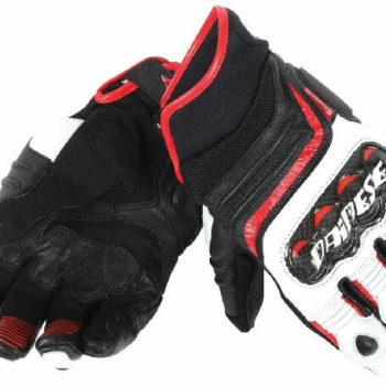 Dainese Carbon D1 Black White Lava Red Short Gloves 2