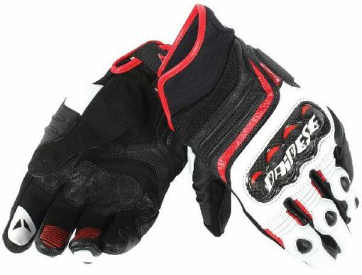 Dainese Carbon D1 Black White Lava Red Short Gloves 2