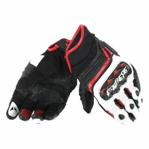 Dainese Carbon D1 Black White Lava Red Short Women Gloves 1