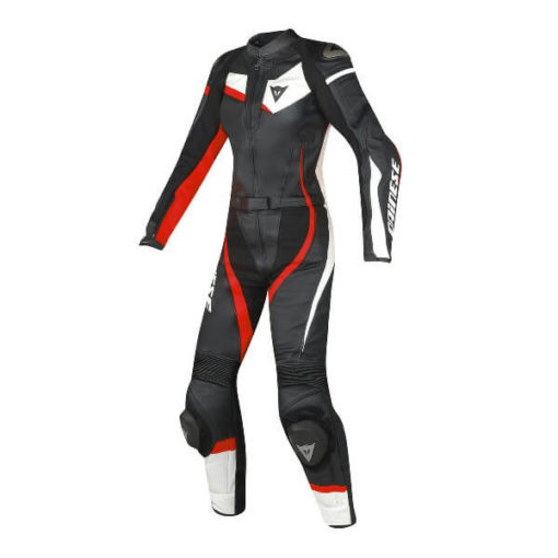 Dainese Veloster 2 pieces Lady Black White Fluorescent Red Riding Suit 1