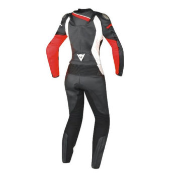 Dainese Veloster 2 pieces Lady Black White Fluorescent Red Riding Suit 2