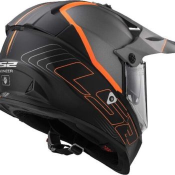 LS2 MX436 Pioneer Element Matt Black Titanium Orange Dual Sport Helmet 1