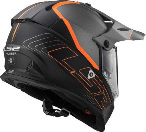 LS2 MX436 Pioneer Element Matt Black Titanium Orange Dual Sport Helmet 1