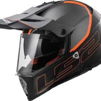 LS2 MX436 Pioneer Element Matt Black Titanium Orange Dual Sport Helmet