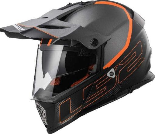 LS2 MX436 Pioneer Element Matt Black Titanium Orange Dual Sport Helmet