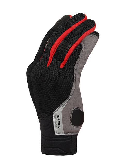 Bikeratti Vind Summer Black Red Grey Riding Gloves 3