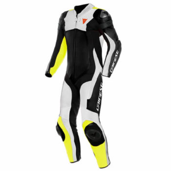 Dainese Assen 2 1 Piece Perforated Leather Black White Fluorescent Yellow Riding Suit