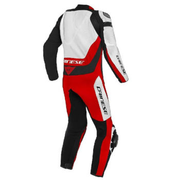 Dainese Assen 2 1 Piece Perforated Leather White Lava Red Black Riding Suit 1