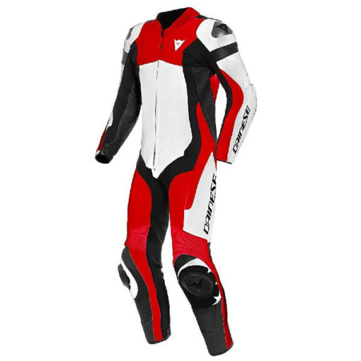 Dainese Assen 2 1 Piece Perforated Leather White Lava Red Black Riding Suit