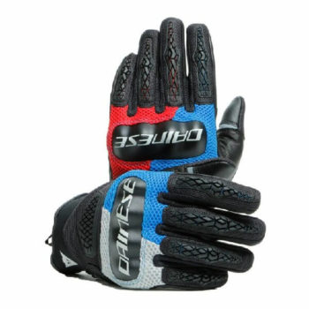 Dainese D Explorer 2 Glacier Gray Blue Lava Red Black Riding Gloves