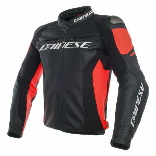 Dainese Racing 3 Perforated Leather Black Fluorescent Red Riding Jacket