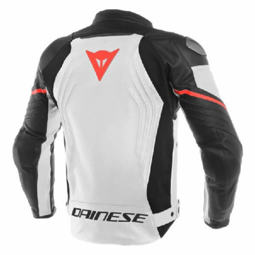 Dainese Racing 3 Perforated Leather White Black Red Riding Jacket 1