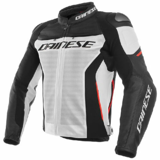 Dainese Racing 3 Perforated Leather White Black Red Riding Jacket