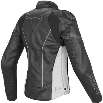 Dainese Racing D1 Lady Leather Black White Anthracite Riding Jacket 1
