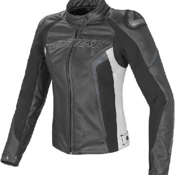 Dainese Racing D1 Lady Leather Black White Anthracite Riding Jacket