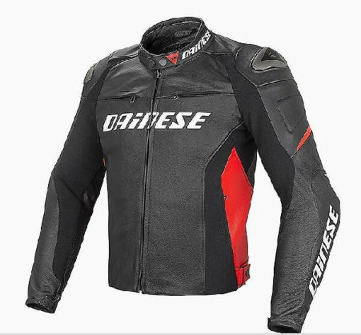 Dainese Racing D1 Perforated Leather Black Red Riding Jacket